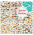 Interior patterns set of furniture icons vector image