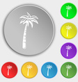 Palm icon sign Symbol on eight flat buttons vector image