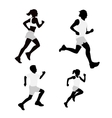 Set running silhouettes vector image