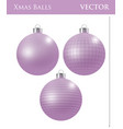 a set of pink christmas balls vector image vector image