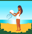 african american girl holding jellyfish danger vector image vector image