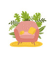armchair and two pillows cozy pink chair on vector image