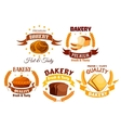 bakery shop product labels set vector image