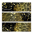 banners with golden pattern vector image