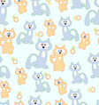 Blue cats and beige to green background Pattern vector image vector image