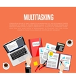 Business multitasking concept Top view workspace vector image