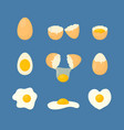 cartoon fried and fresh eggs set vector image