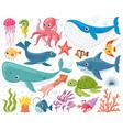 cartoon sea animals cute ocean fish octopus vector image