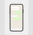 chat screen mobile phone application with vector image