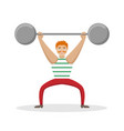 circus athlete with a barbell in his hands vector image