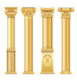 classic antique gold columns set vector image