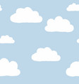 cute minimal blue sky with white clouds seamless vector image