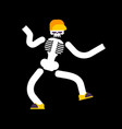 dancing skeleton isolated skull dances street vector image vector image