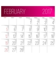 February 2017 calendar template vector image vector image