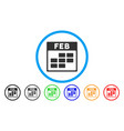 february calendar grid rounded icon vector image vector image