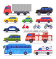 flat auto transport city road car bicycle vector image