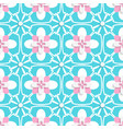 Floristic turquoise and pink tile ornament vector image vector image