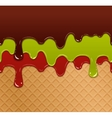 Flowing berry jam green jelly and chocolate on vector image vector image