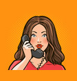 girl or young woman talking on the phone vector image vector image