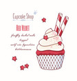 hand drawn red velvet cupcake vector image vector image