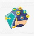 hand with shield and set icons cyber security vector image vector image