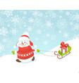 happy snowman with sled vector image vector image