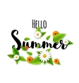 Hello summer lettering typography with flowers on vector image vector image