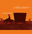 horse with carriage at desert vector image vector image