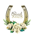 Horseshoes in golden color with white roses vector image