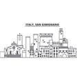 italy san gimignano line skyline vector image vector image
