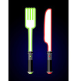 light cutlery Knife and fork in style of future vector image vector image