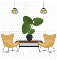 lounge with two relaxing comfortable chair seat vector image