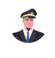man pilot in uniform male captain avatar aviation vector image