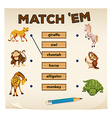 Matching game with wild animals vector image vector image