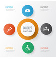 medicine icons set collection of spike cap tent vector image