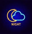 night cloud neon label vector image vector image