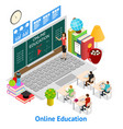 online education concept card 3d isometric view vector image