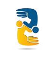 people hand figures teamwork icon vector image