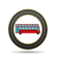 red london bus circle road way design vector image vector image