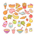 set food icons collection product objects vector image