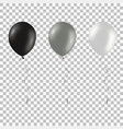 set of black and silver helium balloons isolated vector image