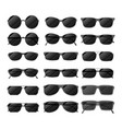 set of black glossy sunglasses in different style vector image vector image