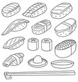 set of rice with raw fish sushi vector image