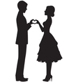Silhouette of bride and groom vector image vector image