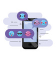 smartphone with message emoji design icon vector image