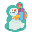 snowman with gifts in yellow mittens cartoon vect vector image vector image