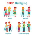 stop school bullying aggressive teen bully vector image
