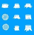 stumps tree log wood icons set simple style vector image