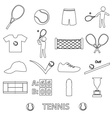 tennis sport theme black outline icons set eps10 vector image vector image