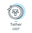 tether cryptocurrency coin line icon of virtual vector image vector image